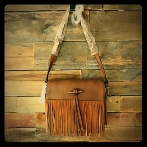 Simply Noelle Brown Suede PU Leather Fringe Purse